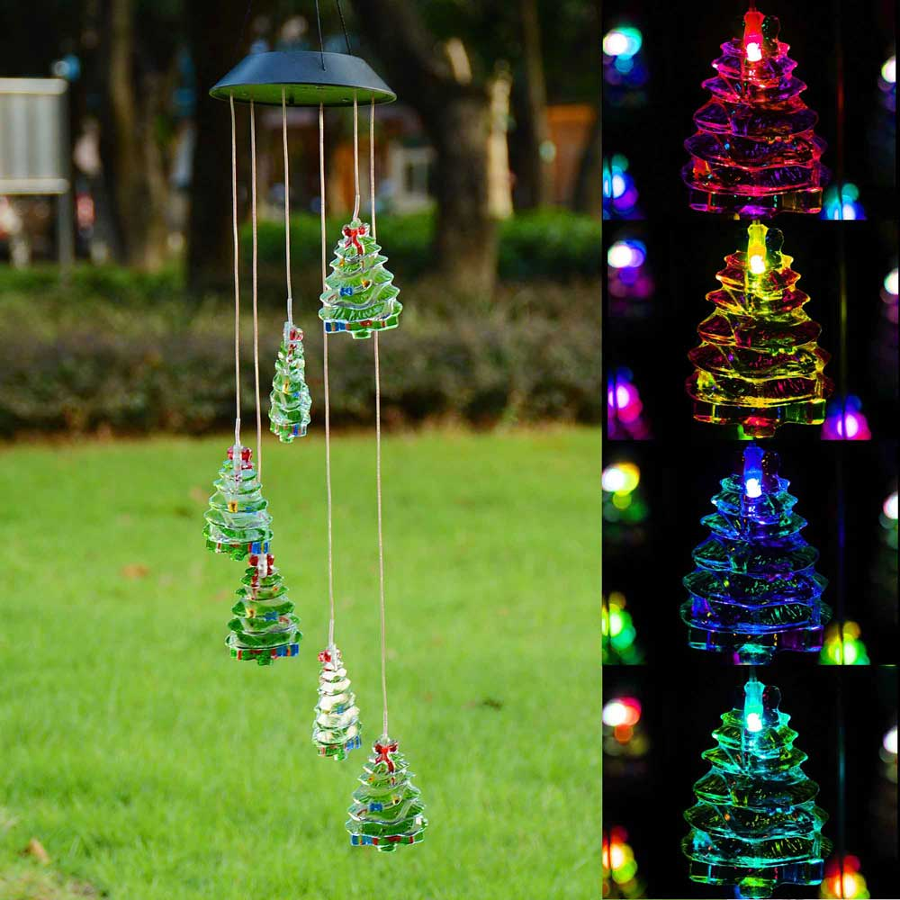 Led Light Outdoor Decoration: Solar Power Color Changing LED Wind Chimes Light Yard Home
