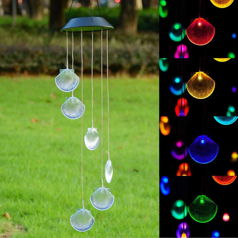 Solar Power Color Changing LED Wind Chimes Light