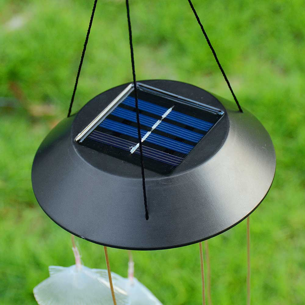 Solar Color Changing LED Shell Wind Chimes Home Garden Yard Decor ...