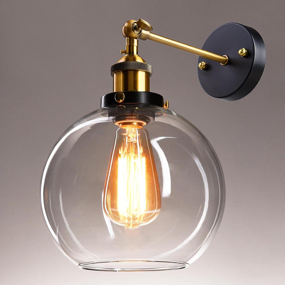 vintage retro industrial barn wall lamp sconce light glass l