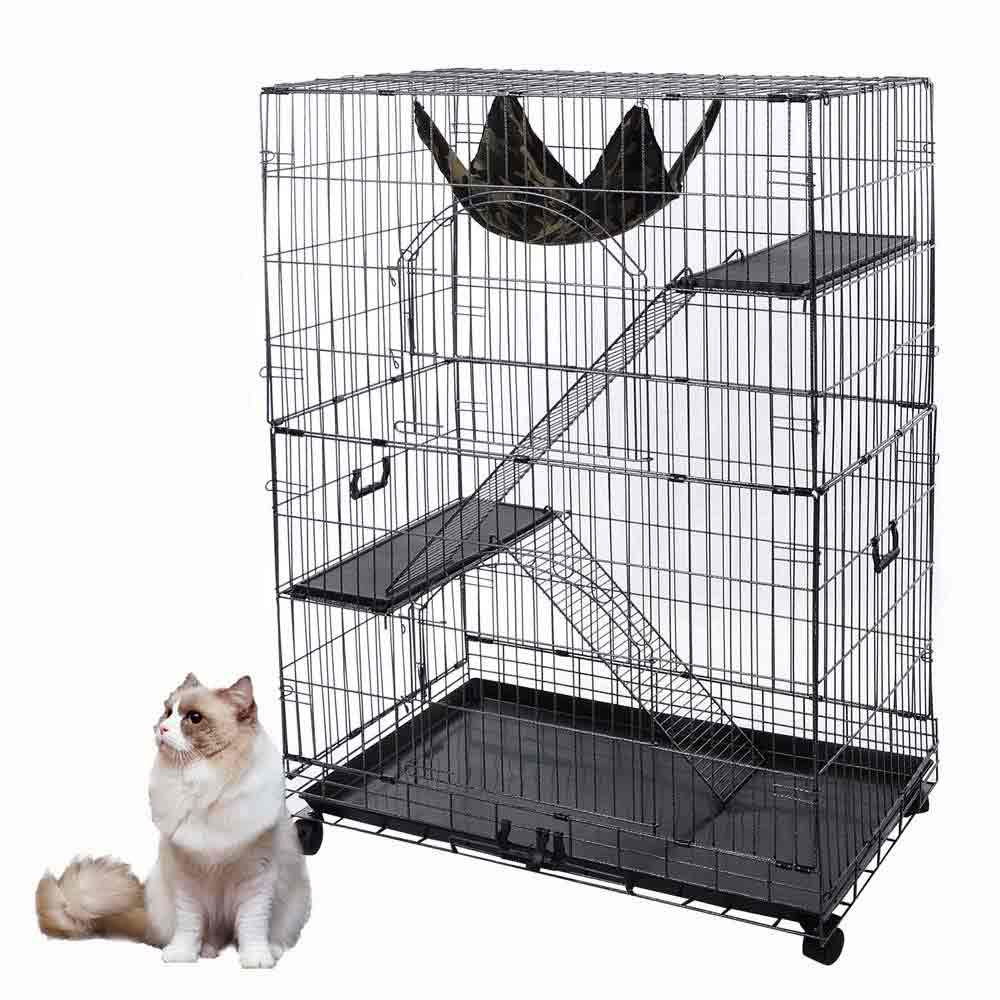 51 034 2 door pet cat cage playpen  51   2 door pet cat cage playpen metal wire crate w tray bench      rh   ebay