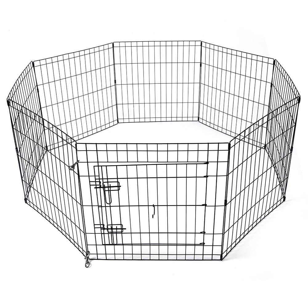 24-30-36-42-48-Dog-Pet-Playpen-Metal-Crate-Fence-Cage-8-Panel-Exercise-Play-Pen thumbnail 3