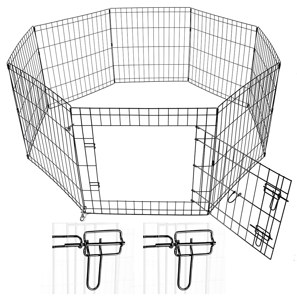 24-30-36-42-48-Dog-Pet-Playpen-Metal-Crate-Fence-Cage-8-Panel-Exercise-Play-Pen thumbnail 4
