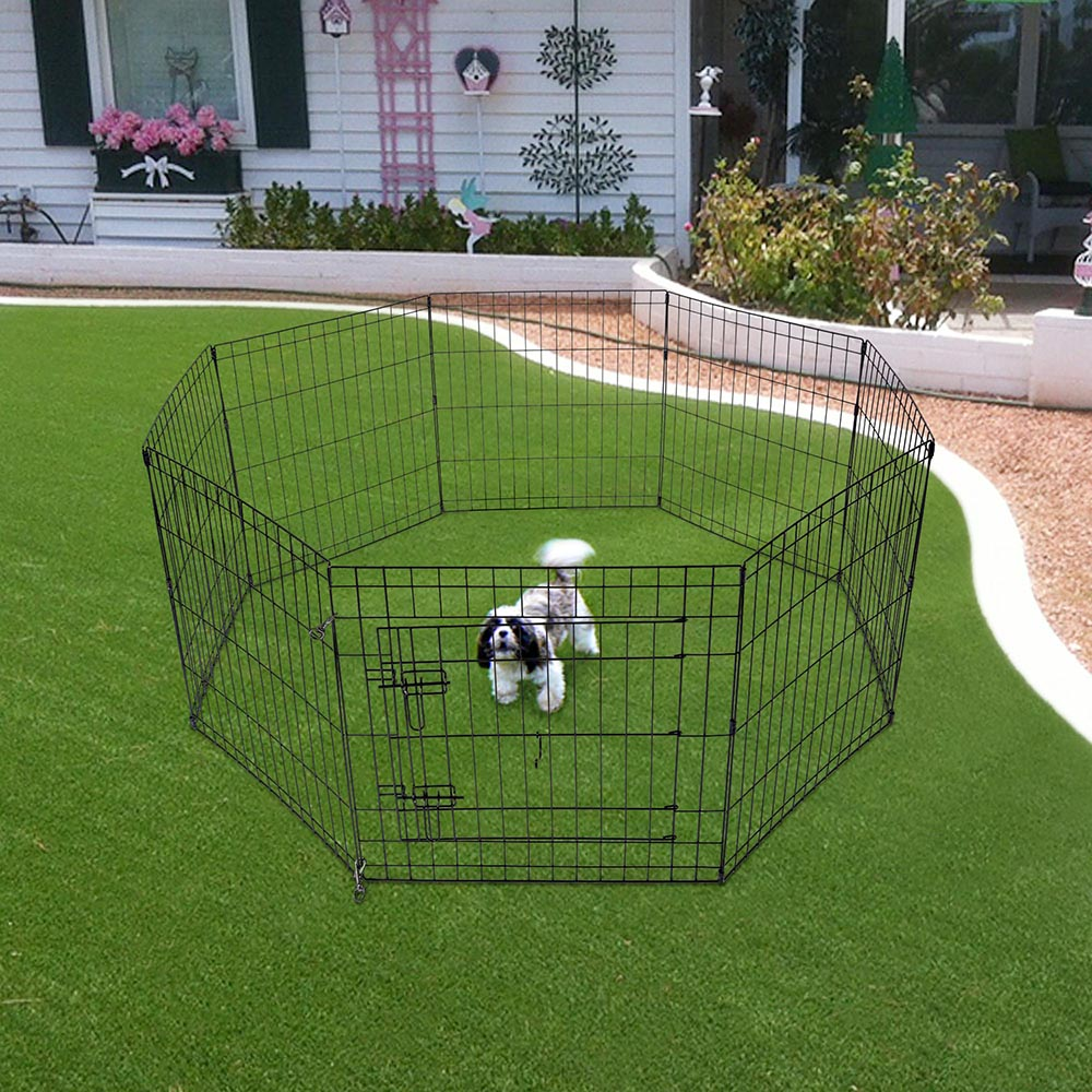 24-30-36-42-48-Dog-Pet-Playpen-Metal-Crate-Fence-Cage-8-Panel-Exercise-Play-Pen thumbnail 10
