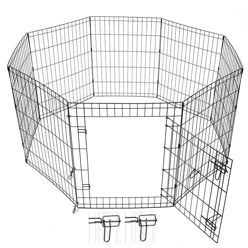 24-30-36-42-48-Dog-Pet-Playpen-Metal-Crate-Fence-Cage-8-Panel-Exercise-Play-Pen thumbnail 13