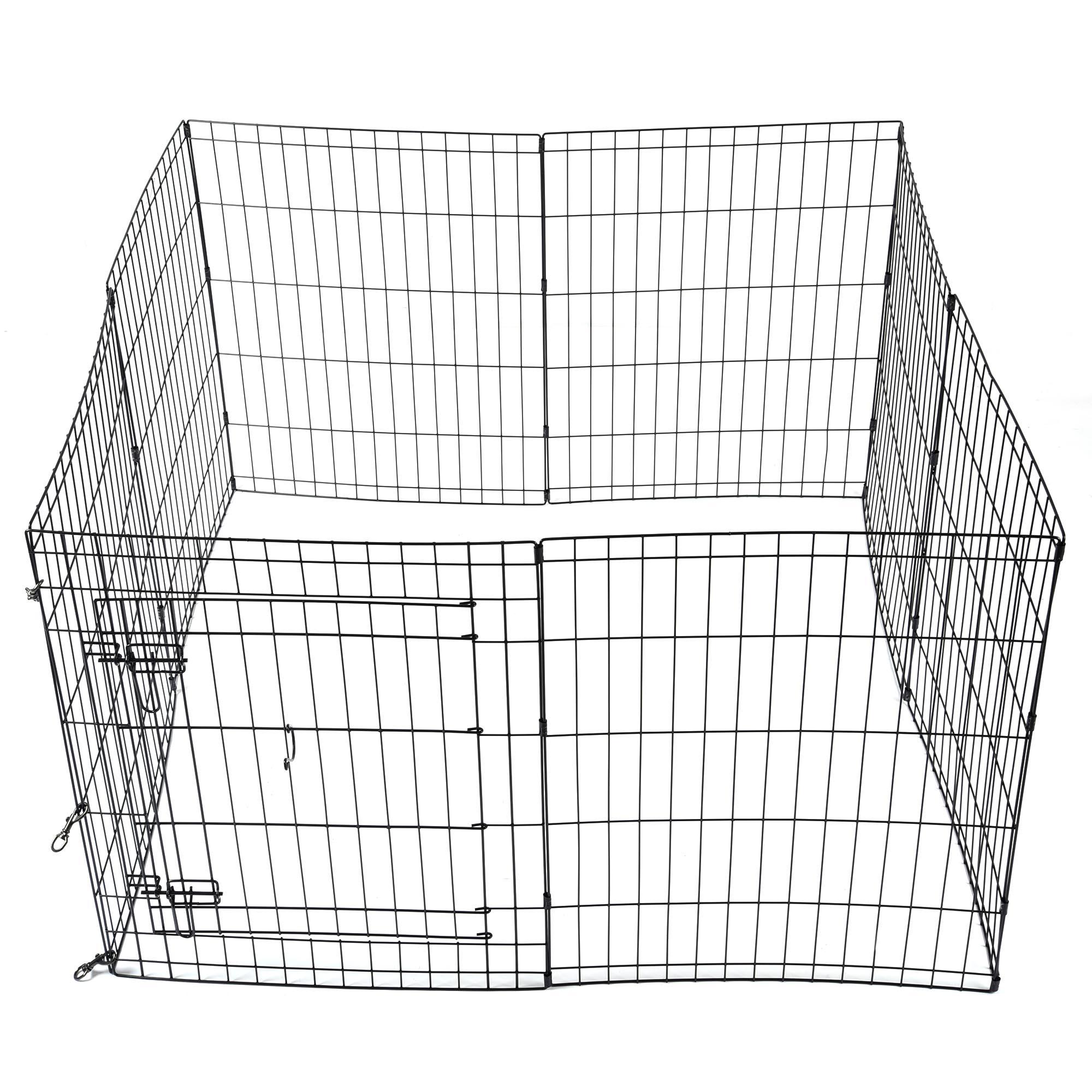 30 u0026quot  pet dog playpen exercise fence cage kennel w   door 8