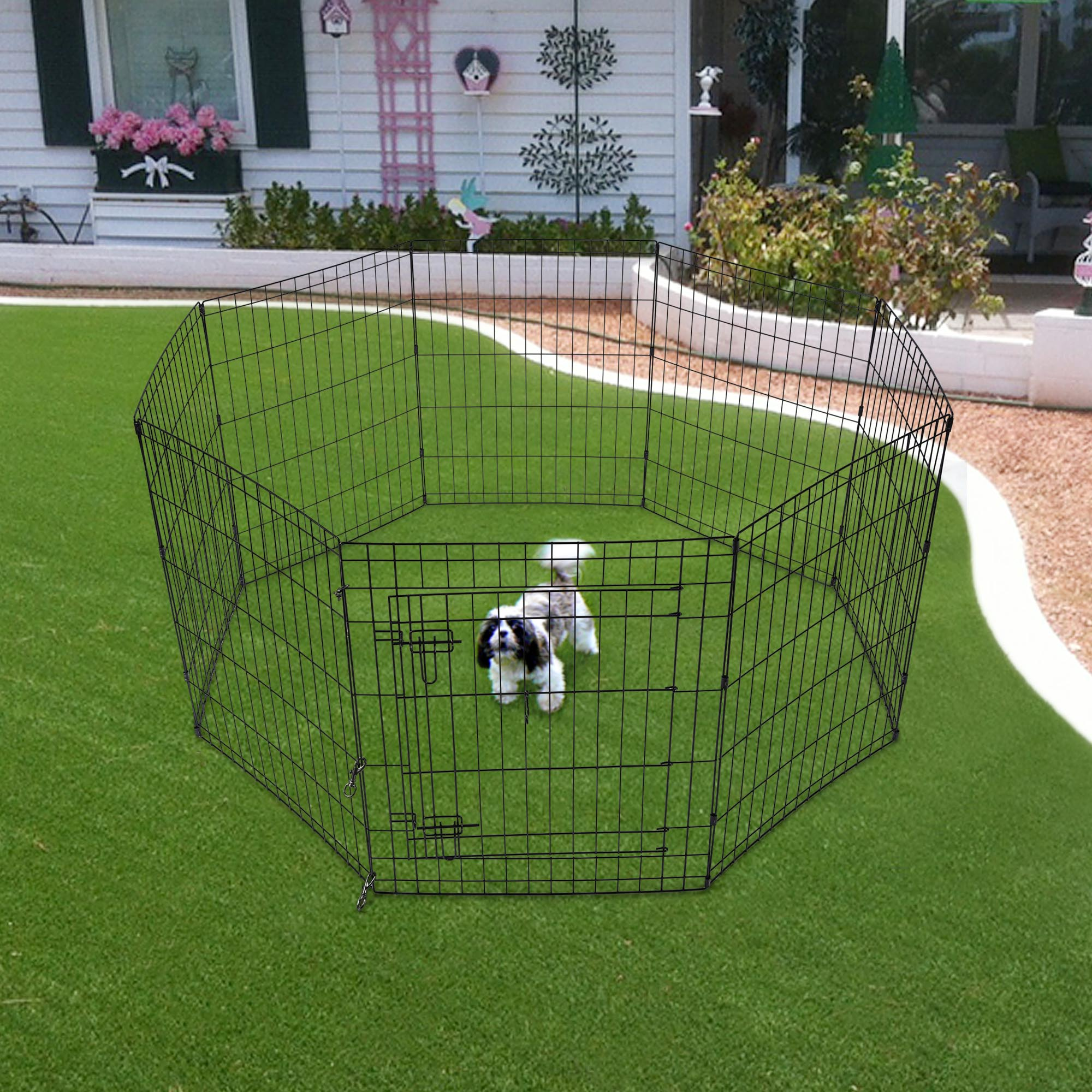 24-30-36-42-48-Dog-Pet-Playpen-Metal-Crate-Fence-Cage-8-Panel-Exercise-Play-Pen thumbnail 19