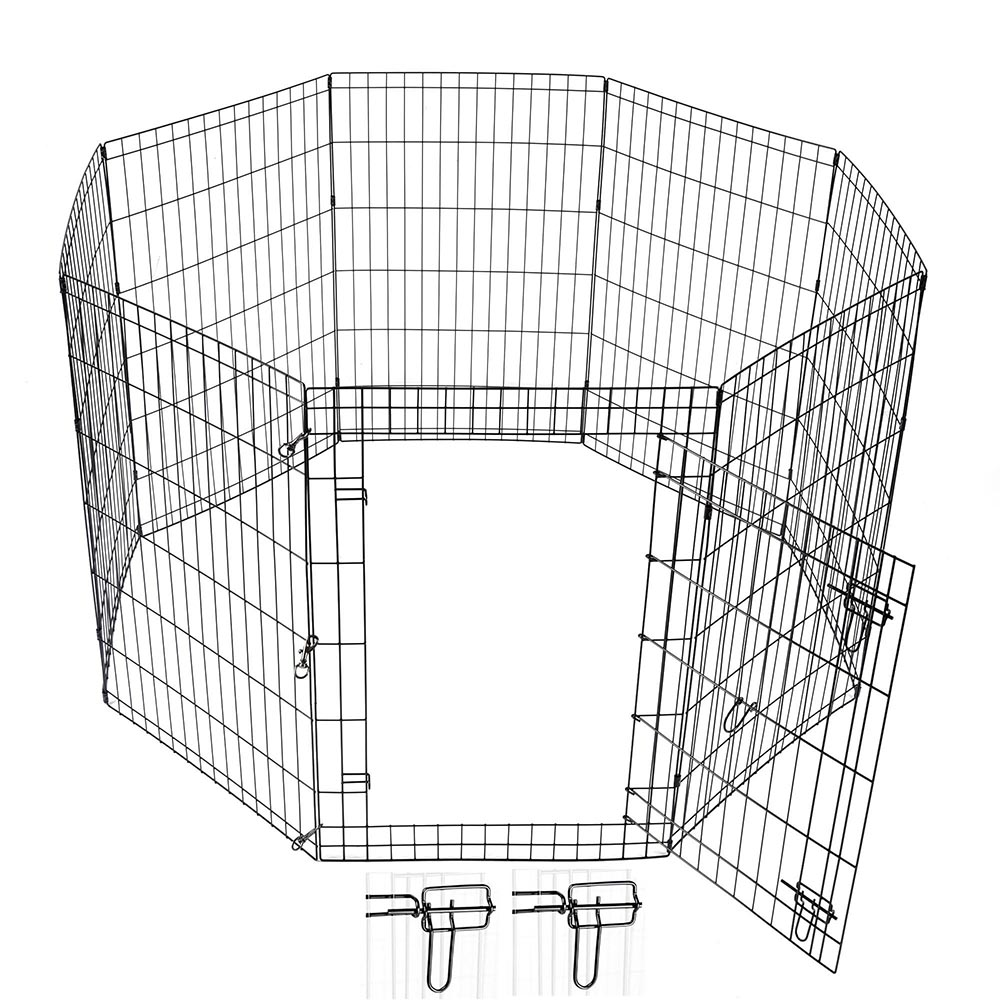 24-30-36-42-48-Dog-Pet-Playpen-Metal-Crate-Fence-Cage-8-Panel-Exercise-Play-Pen thumbnail 22
