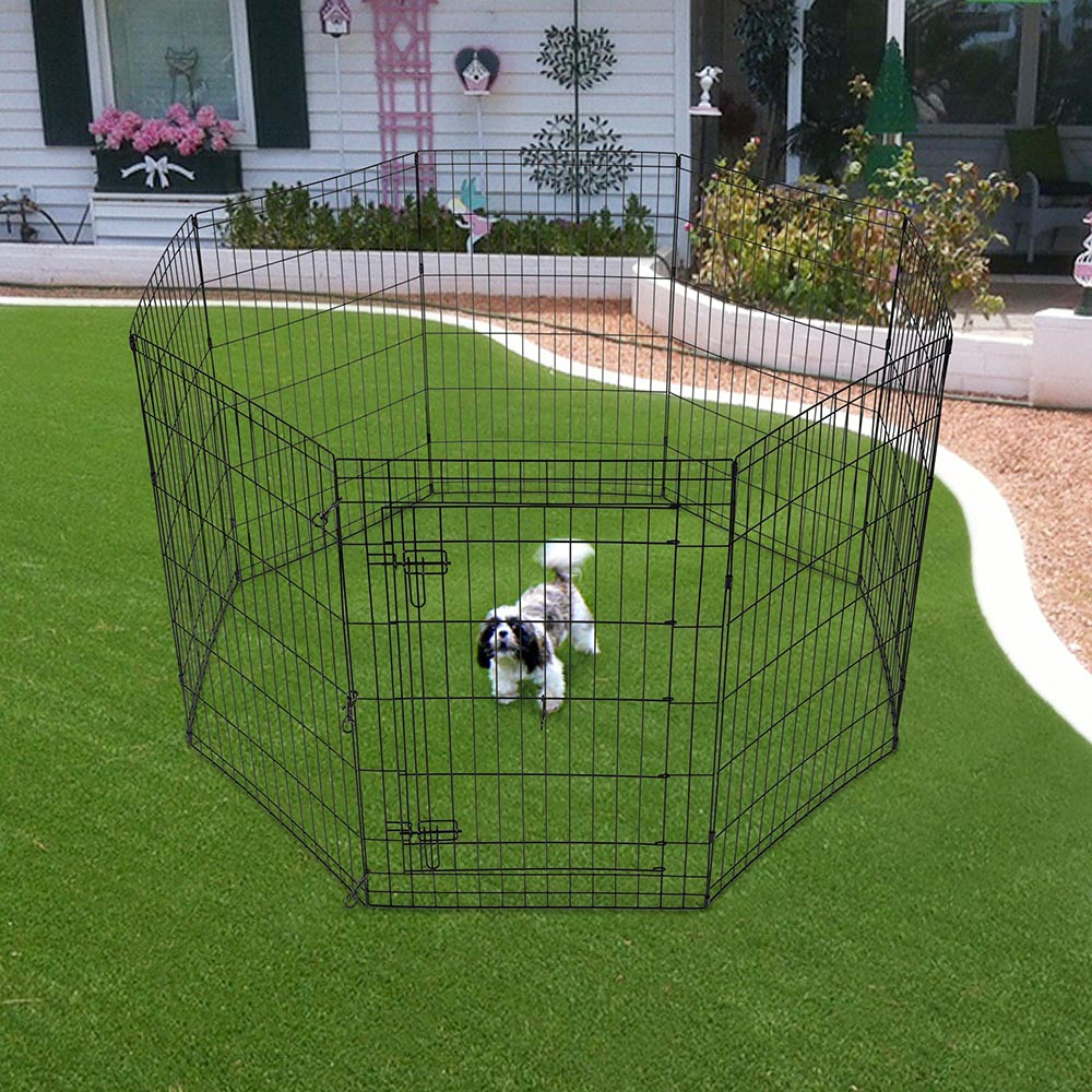 24-30-36-42-48-Dog-Pet-Playpen-Metal-Crate-Fence-Cage-8-Panel-Exercise-Play-Pen thumbnail 28
