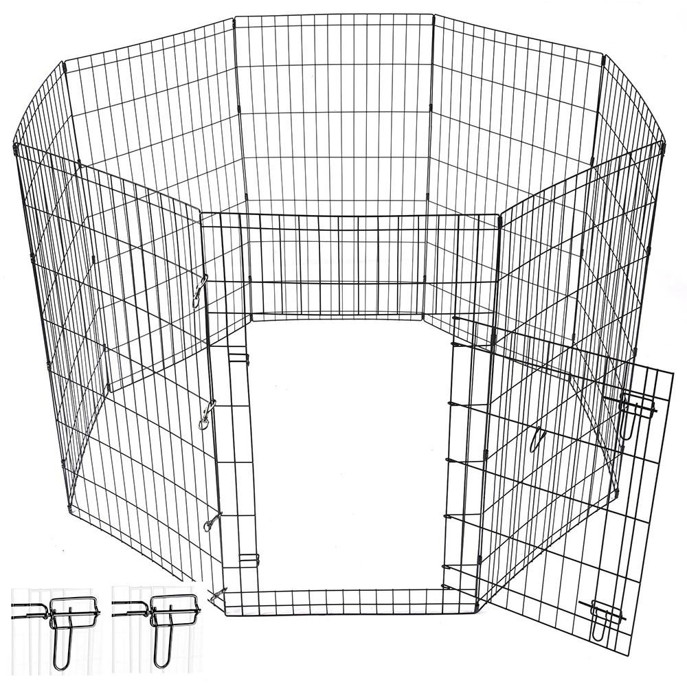 42 u0026quot  pet dog playpen exercise fence cage kennel w   door 8