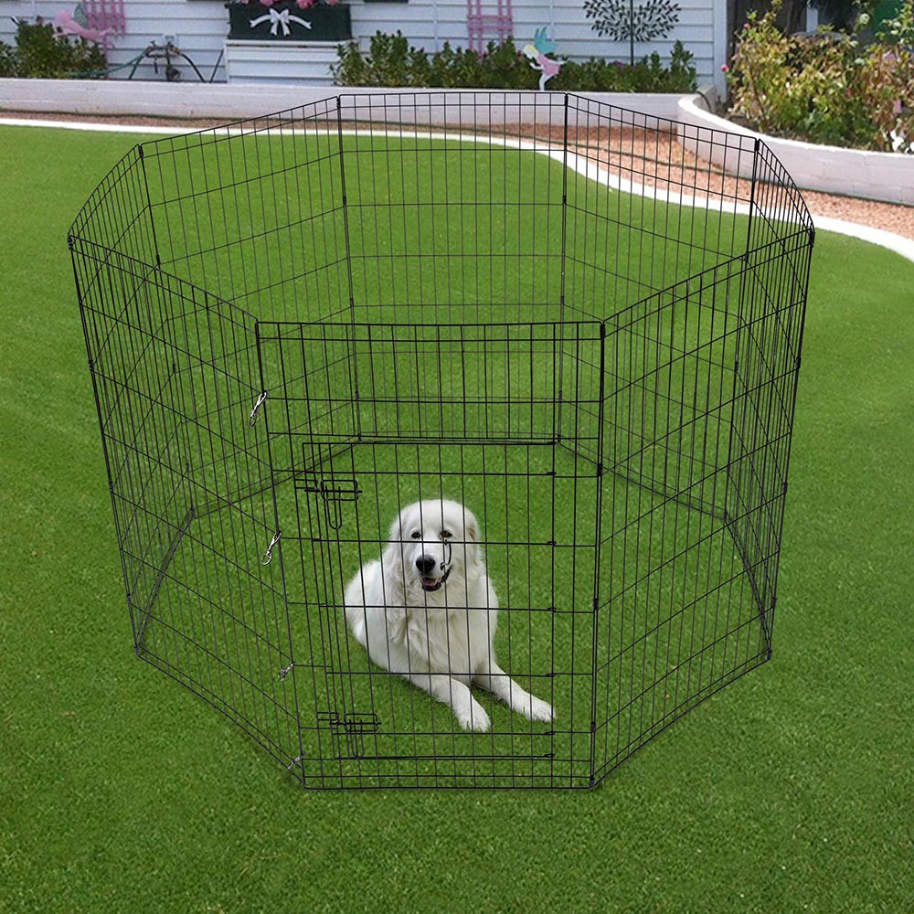 42 Quot Pet Dog Playpen Exercise Fence Cage Kennel W Door 8