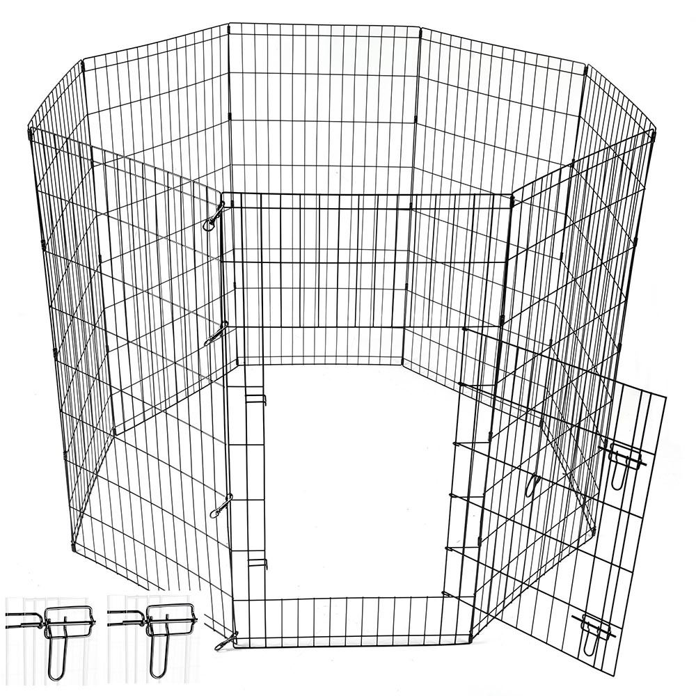 24-30-36-42-48-Dog-Pet-Playpen-Metal-Crate-Fence-Cage-8-Panel-Exercise-Play-Pen thumbnail 40