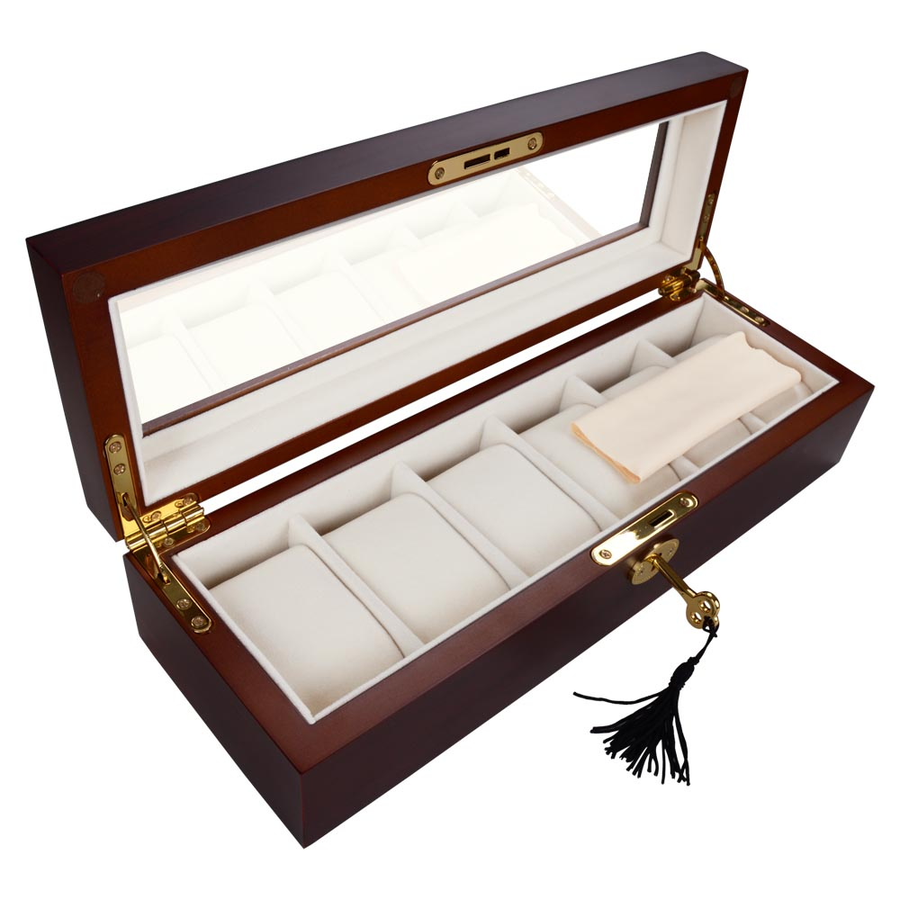 6 Slot Cherry Wood Watch Box Display Case Glass Top Jewelry Storage Organizer  sc 1 st  eBay & 6 Slot Cherry Wood Watch Box Display Case Glass Top Jewelry ... Aboutintivar.Com