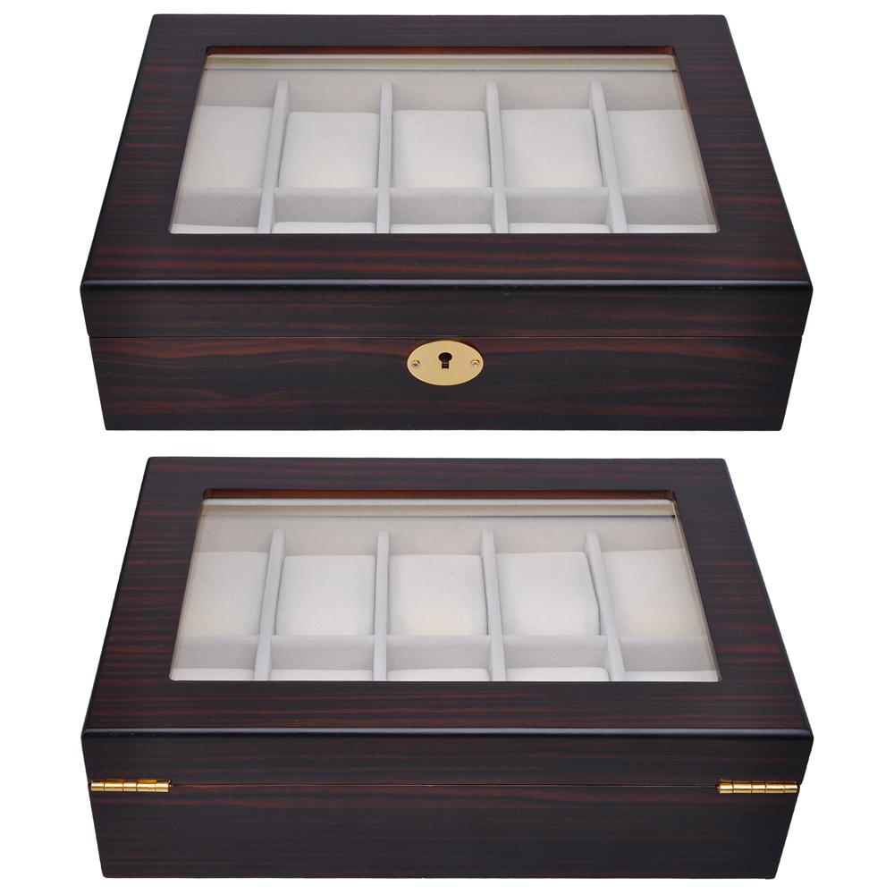 Delightful 10 Slot Ebony Cherry Wood Watch Display Case