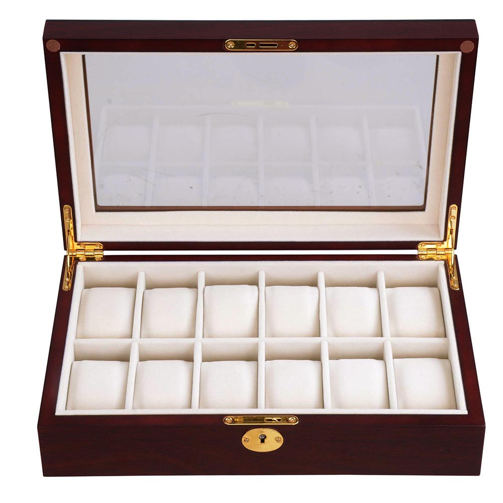 12 Slot Watch Display Case Wood Wooden Boxes Jewelry Storage