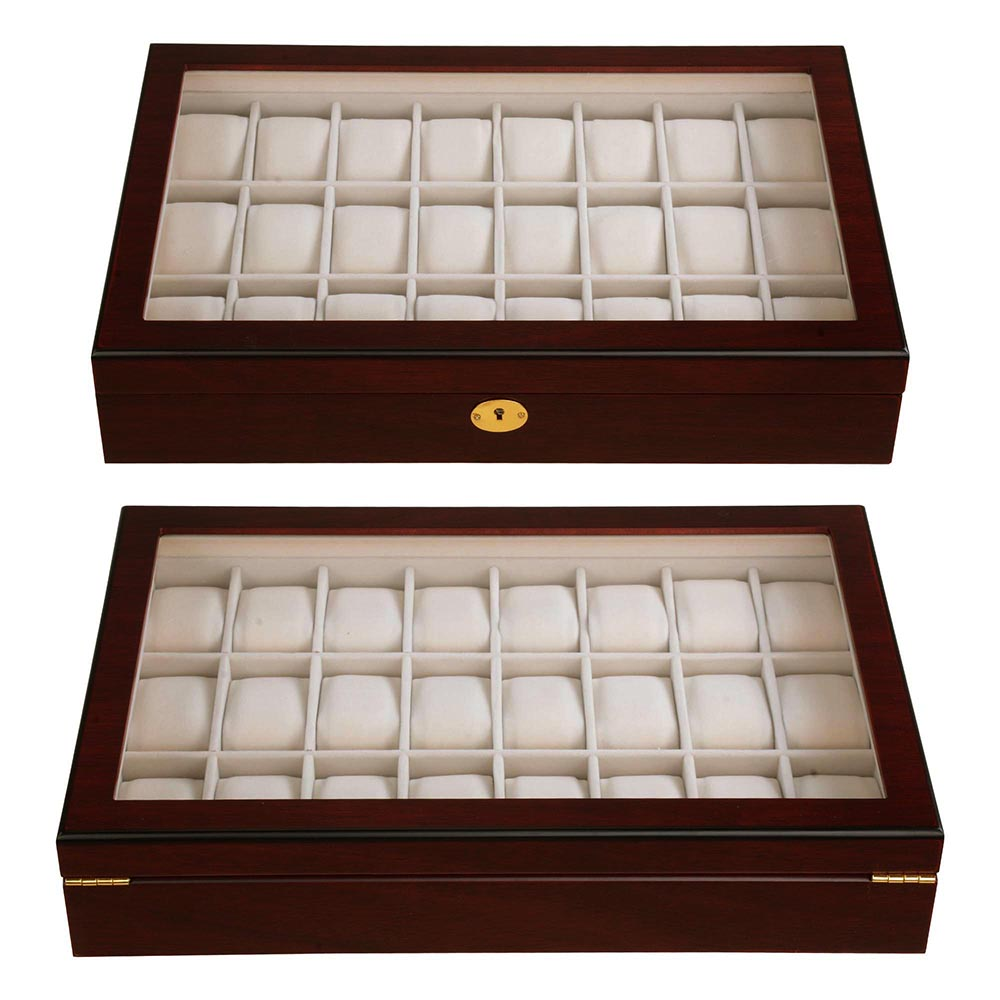 24 Watch Display Case Wooden Top Glass Jewelry Storage Organizer Box