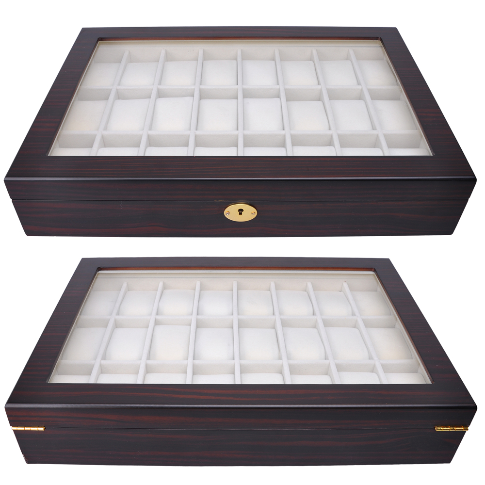 24 Ebony Wood Mens Watch Display Glass Top Case Organizer Collector