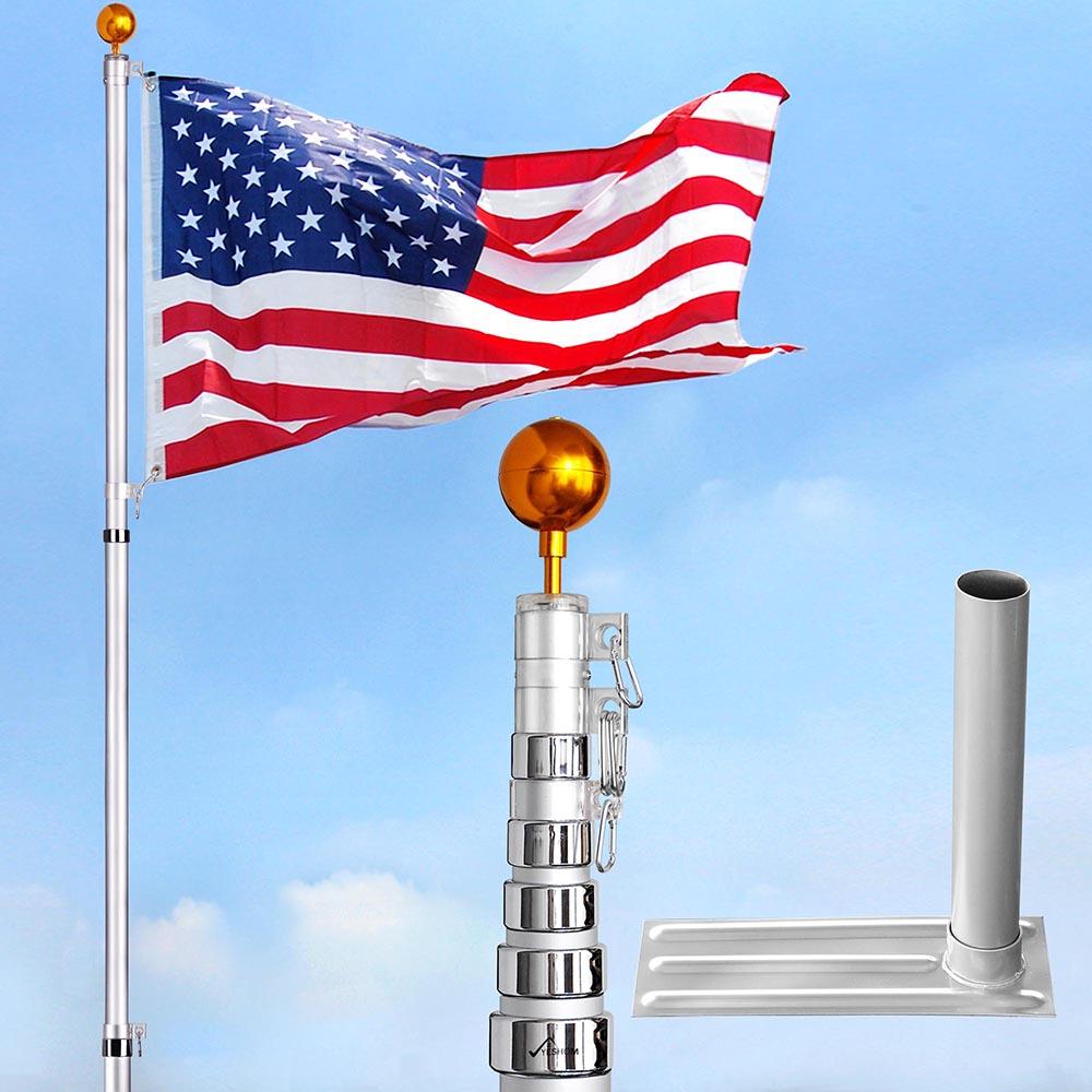 30' Telescopic Flag Pole Aluminum W/ Flag Kit +Tire Mount