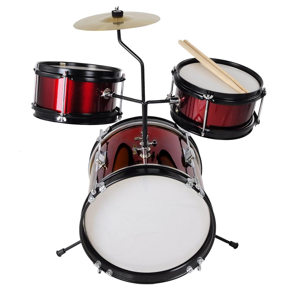 3pcs junior kids children drum set kit sticks throne cymbal bass snare boy girl ebay. Black Bedroom Furniture Sets. Home Design Ideas