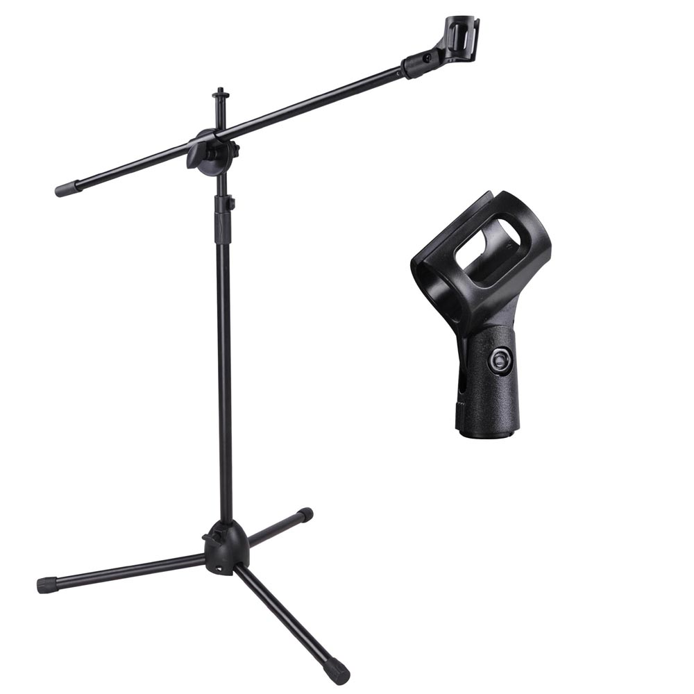 telescoping microphone stand mic clip 360 degree stage studio holder tripod ebay. Black Bedroom Furniture Sets. Home Design Ideas