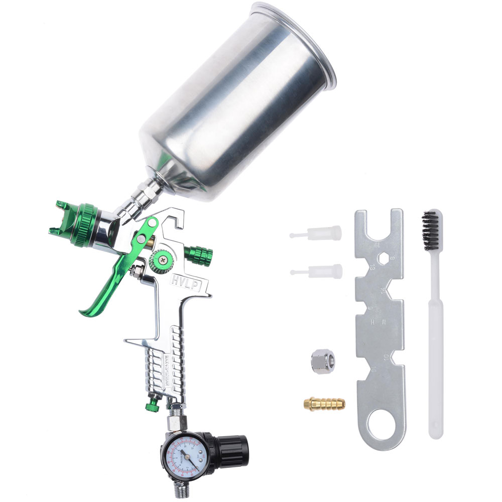 2 5 Mm Hvlp Spray Gun Auto Paint Gravity Feed W Gauge Metal Flake Primer Nozzle 640671042222 Ebay