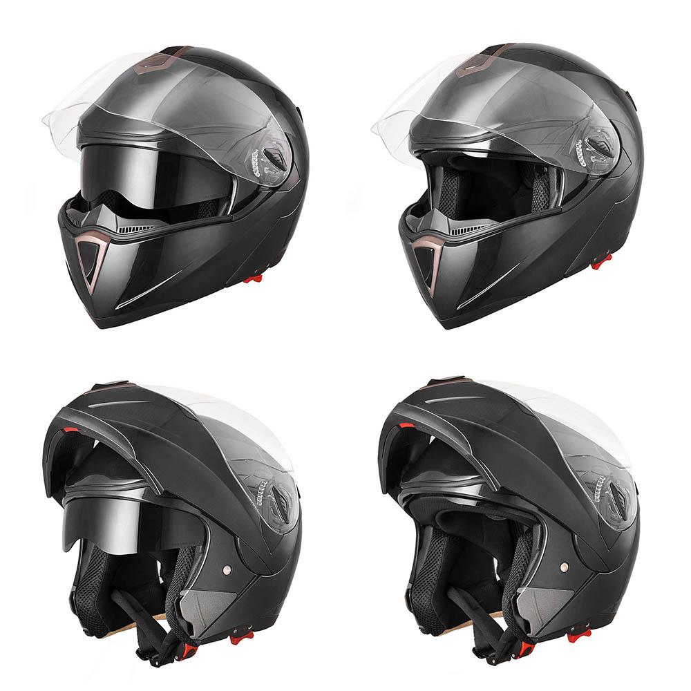 Dot Full Face Flip Up Motorcycle Helmet Dual Visor Bike Race Size