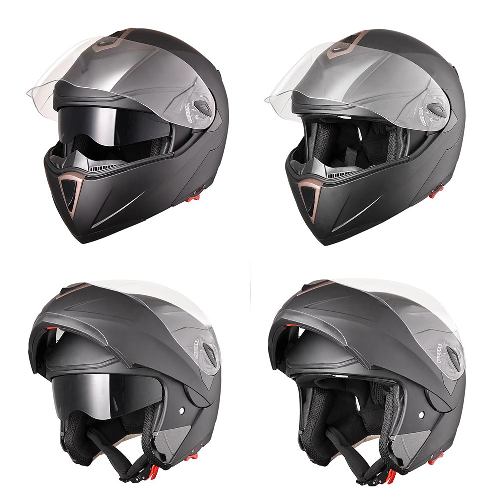 Motorcycle Helmets Dot >> DOT Full Face Flip up Motorcycle Helmet Dual Visor Bike Race Size & Color Opt | eBay