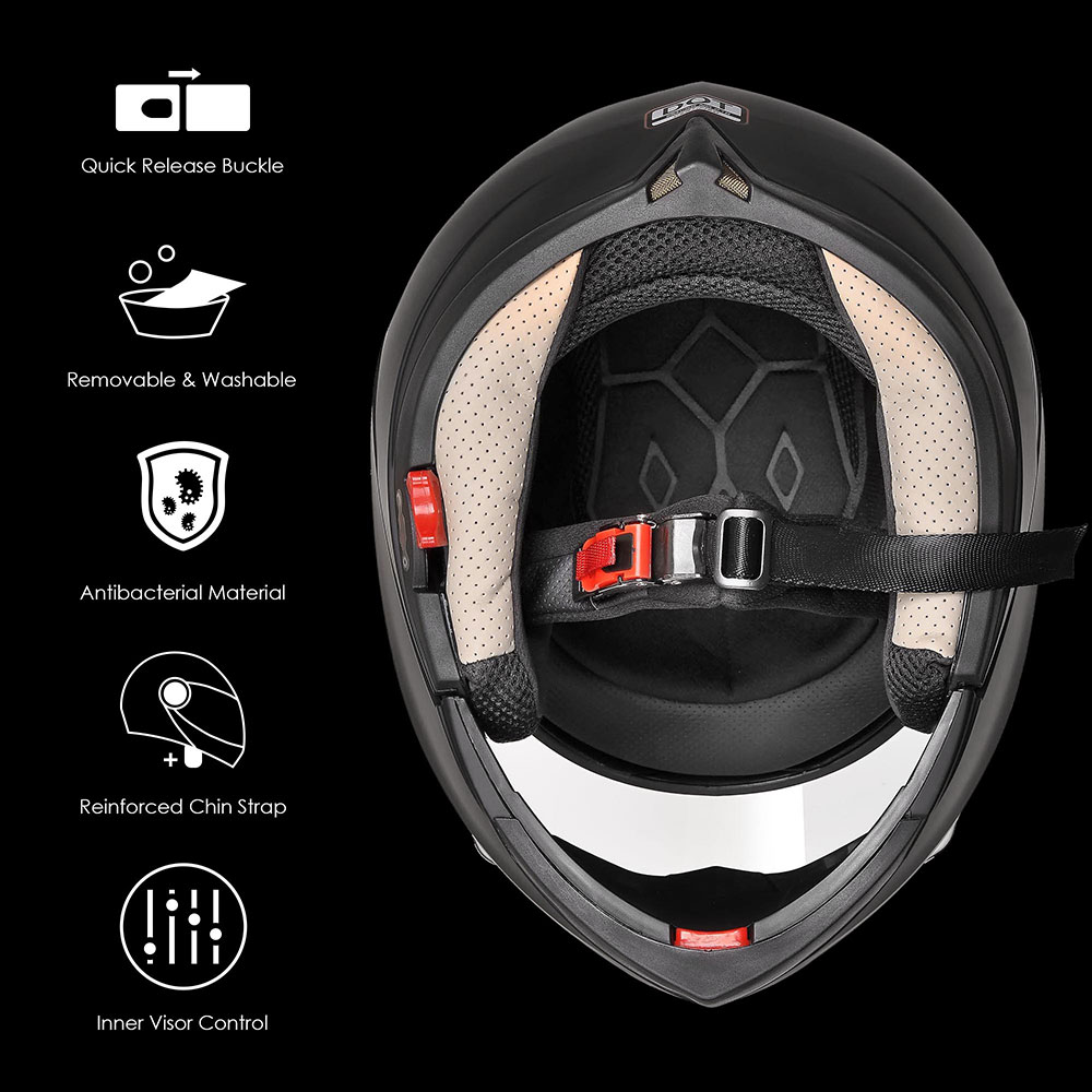DOT-Flip-up-Modular-Full-Face-Motorcycle-Helmet-Dual-Visor-Motocross-Size-Opt miniature 86