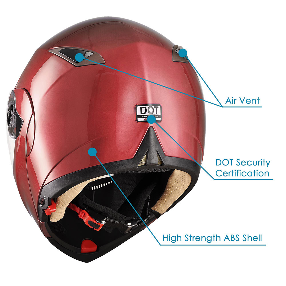 DOT-Flip-up-Modular-Full-Face-Motorcycle-Helmet-Dual-Visor-Motocross-Size-Opt miniature 152