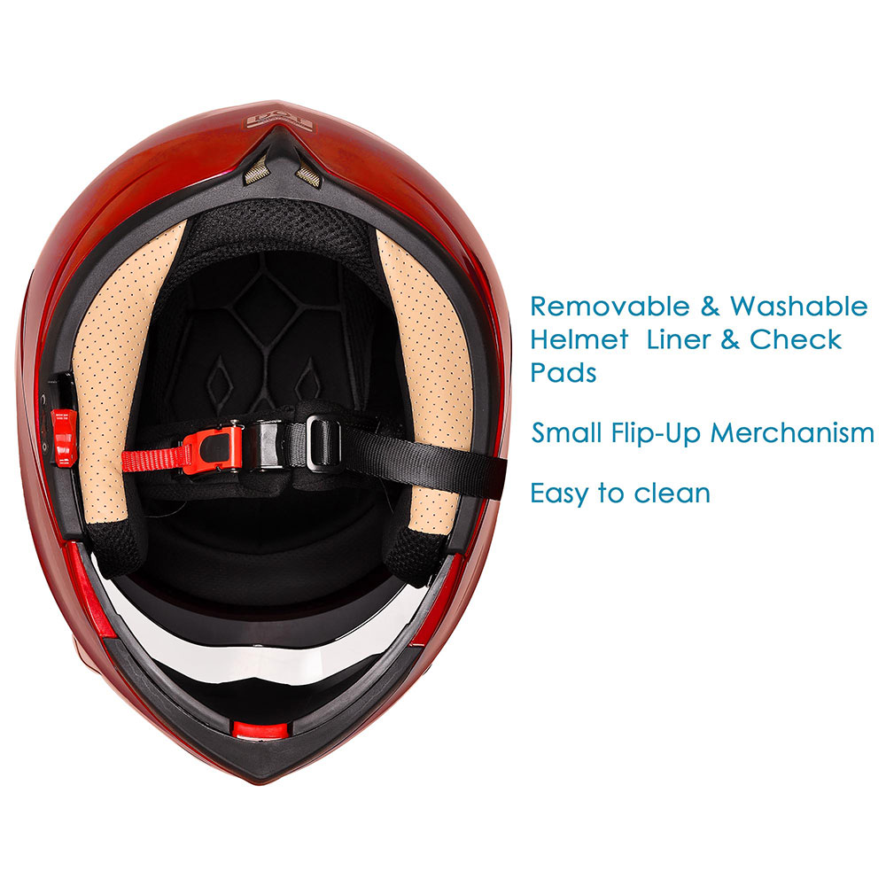 DOT-Flip-up-Modular-Full-Face-Motorcycle-Helmet-Dual-Visor-Motocross-Size-Opt miniature 153