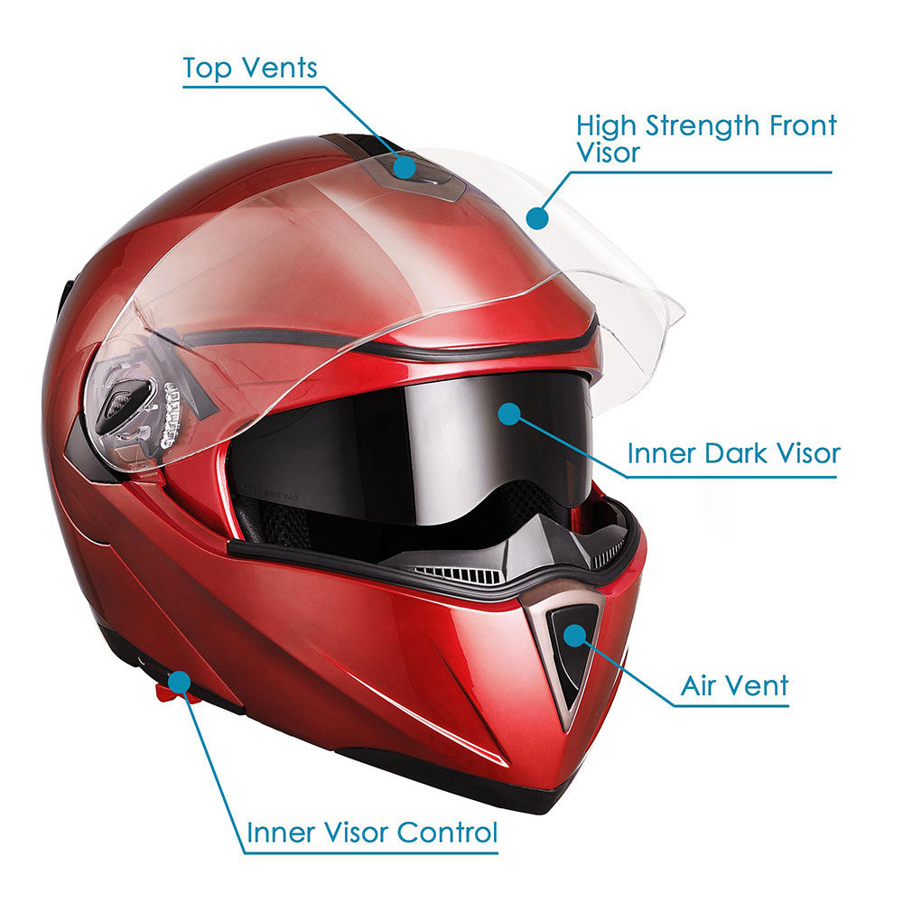 DOT-Flip-up-Modular-Full-Face-Motorcycle-Helmet-Dual-Visor-Motocross-Size-Opt miniature 151