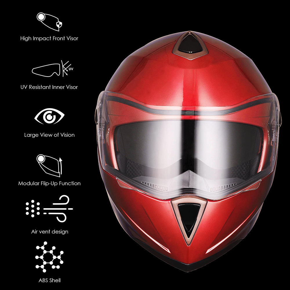 DOT-Flip-up-Modular-Full-Face-Motorcycle-Helmet-Dual-Visor-Motocross-Size-Opt miniature 149