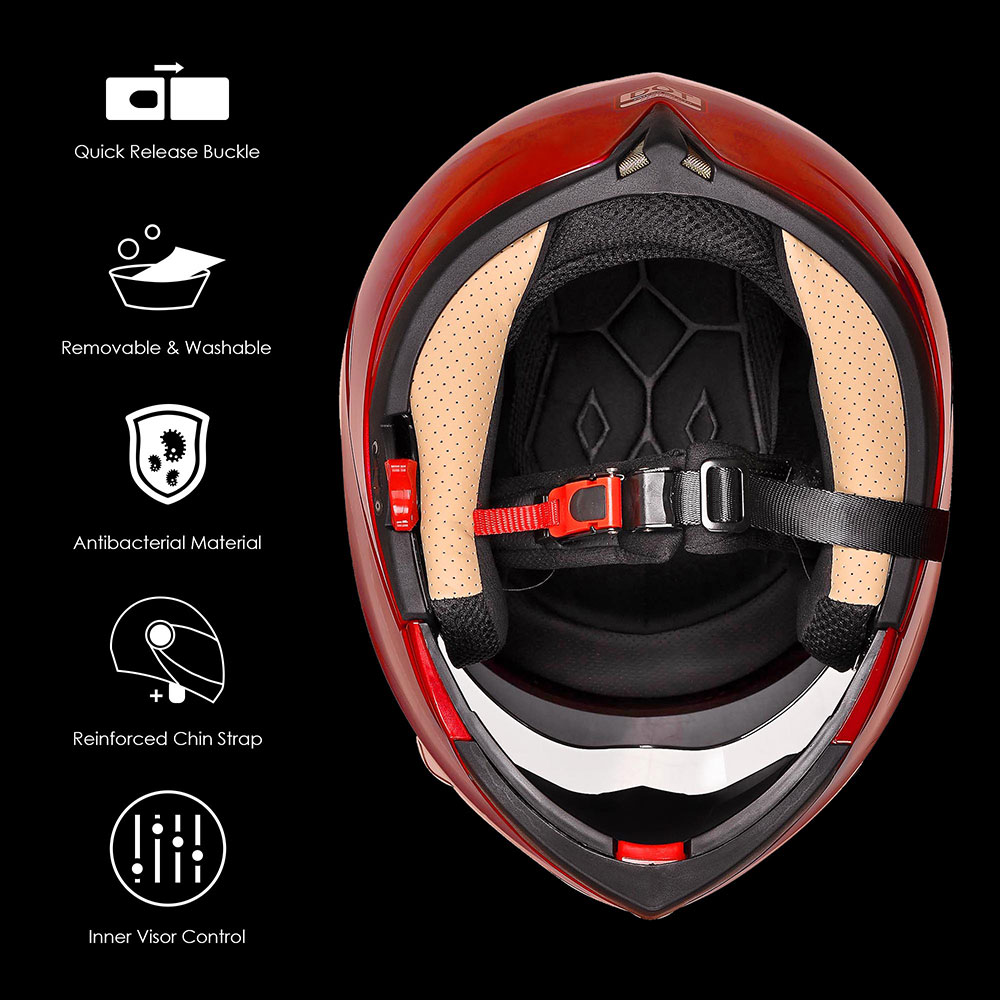 DOT-Flip-up-Modular-Full-Face-Motorcycle-Helmet-Dual-Visor-Motocross-Size-Opt miniature 150