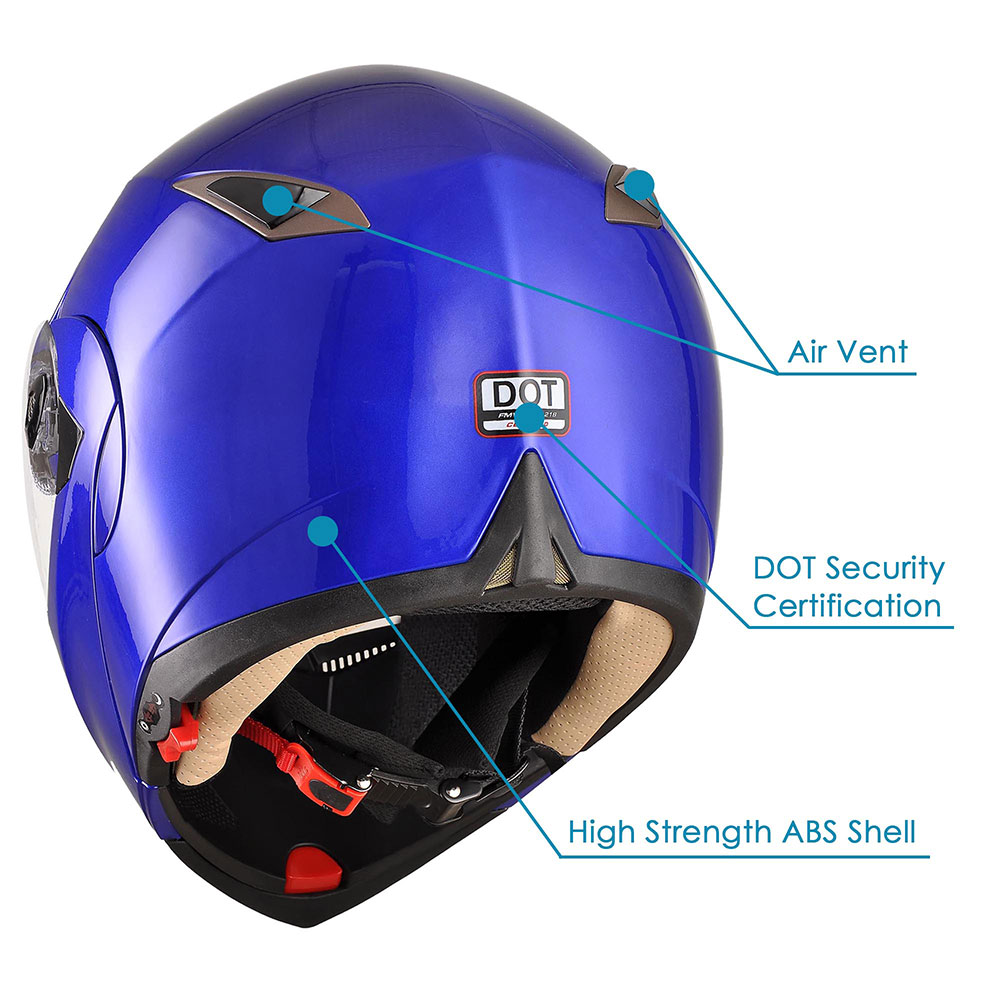 DOT-Flip-up-Modular-Full-Face-Motorcycle-Helmet-Dual-Visor-Motocross-Size-Opt miniature 128