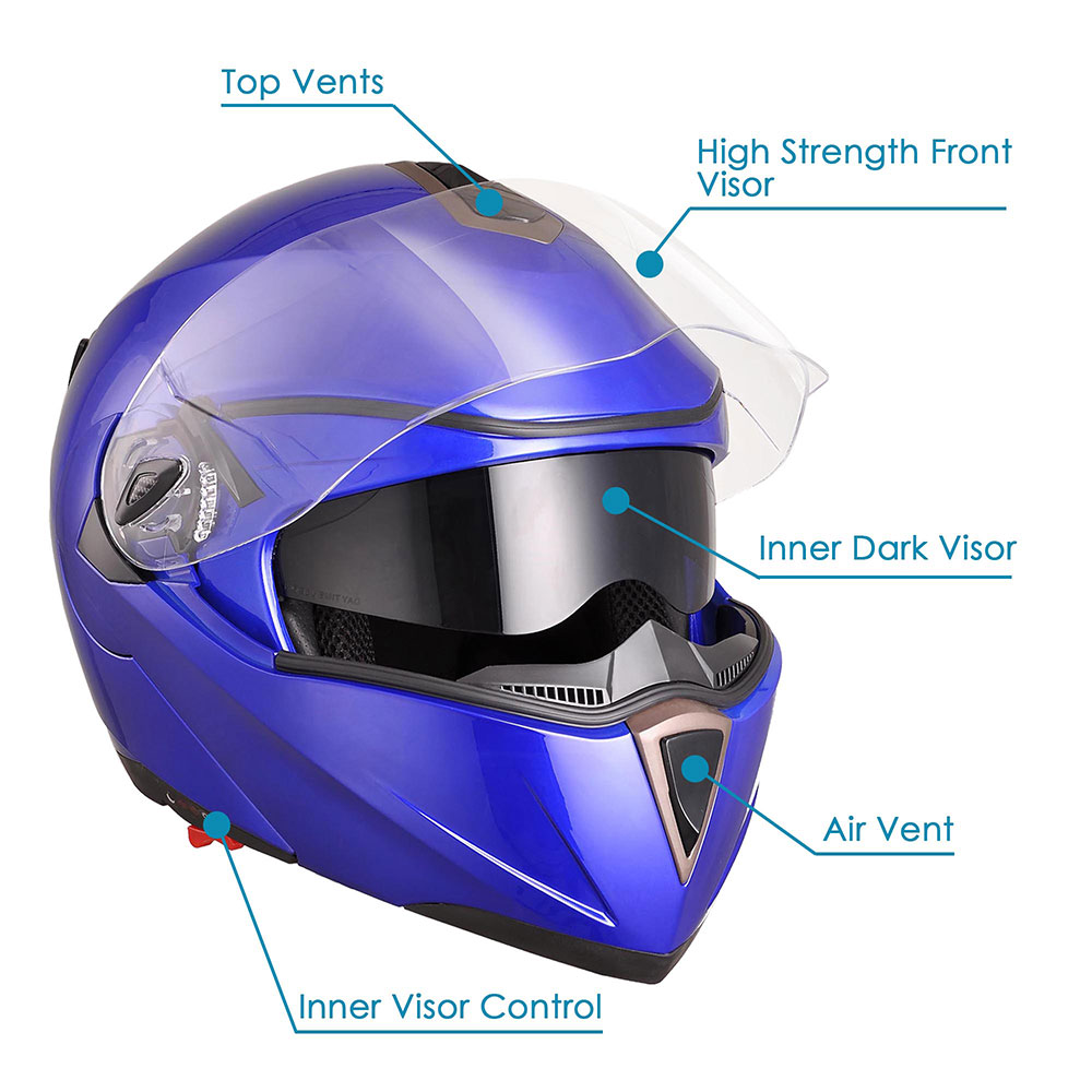 DOT-Flip-up-Modular-Full-Face-Motorcycle-Helmet-Dual-Visor-Motocross-Size-Opt miniature 127