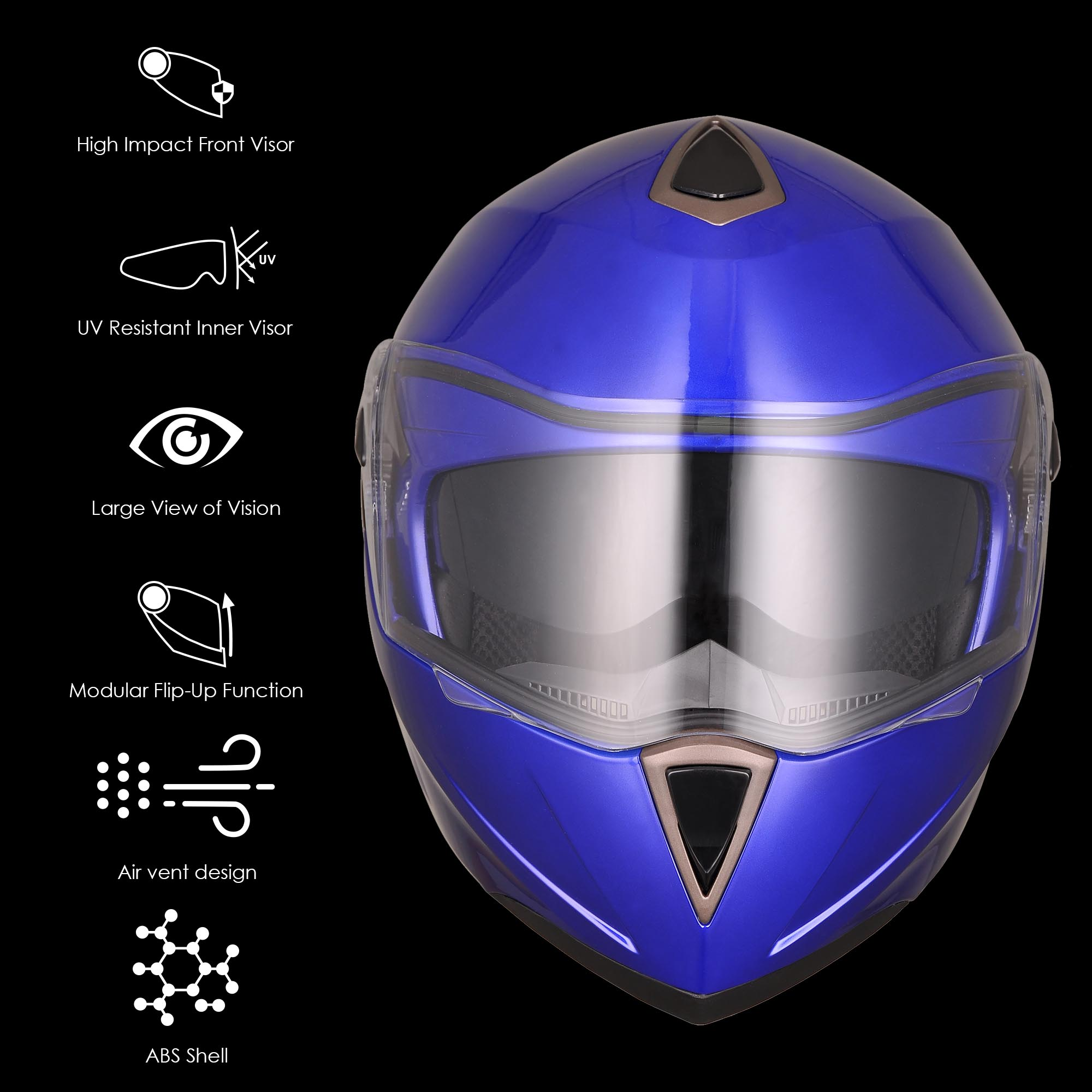 DOT-Flip-up-Modular-Full-Face-Motorcycle-Helmet-Dual-Visor-Motocross-Size-Opt miniature 130