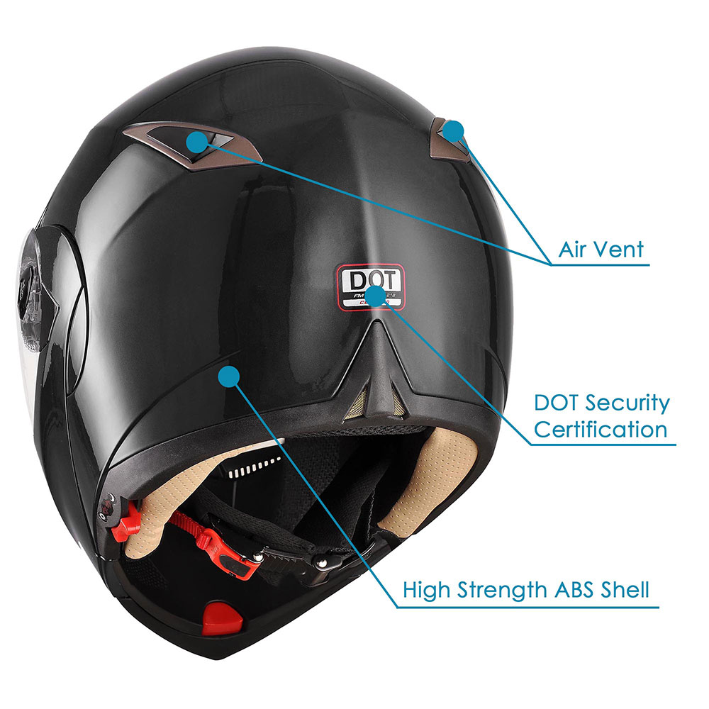 DOT-Flip-up-Modular-Full-Face-Motorcycle-Helmet-Dual-Visor-Motocross-Size-Opt miniature 118