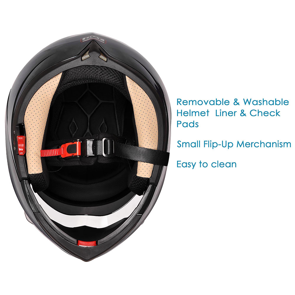DOT-Flip-up-Modular-Full-Face-Motorcycle-Helmet-Dual-Visor-Motocross-Size-Opt miniature 119