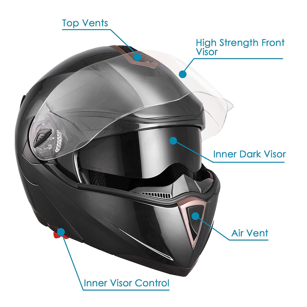 DOT-Flip-up-Modular-Full-Face-Motorcycle-Helmet-Dual-Visor-Motocross-Size-Opt miniature 117
