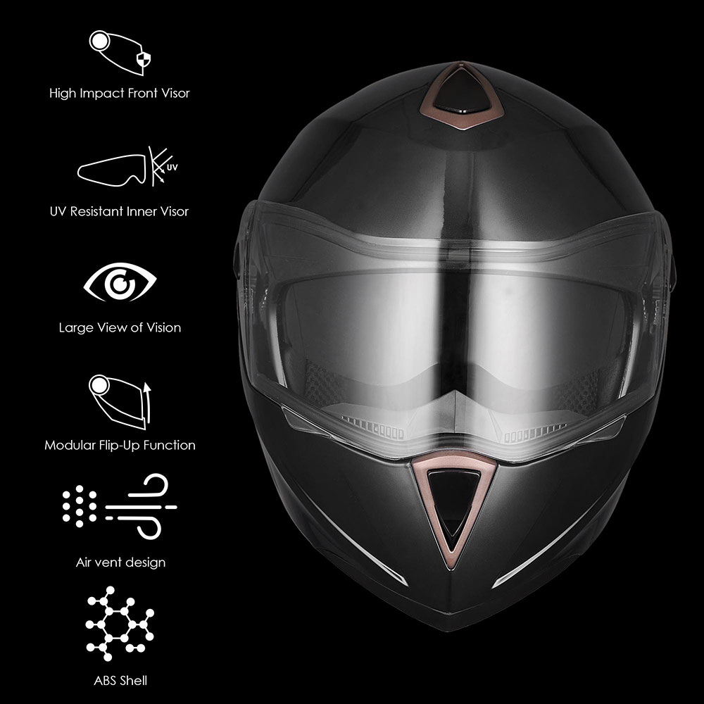 DOT-Flip-up-Modular-Full-Face-Motorcycle-Helmet-Dual-Visor-Motocross-Size-Opt miniature 120