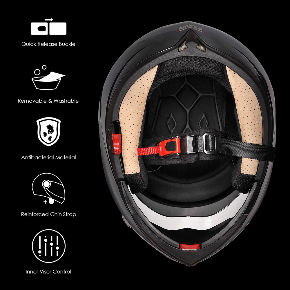 DOT-Flip-up-Modular-Full-Face-Motorcycle-Helmet-Dual-Visor-Motocross-Size-Opt miniature 121