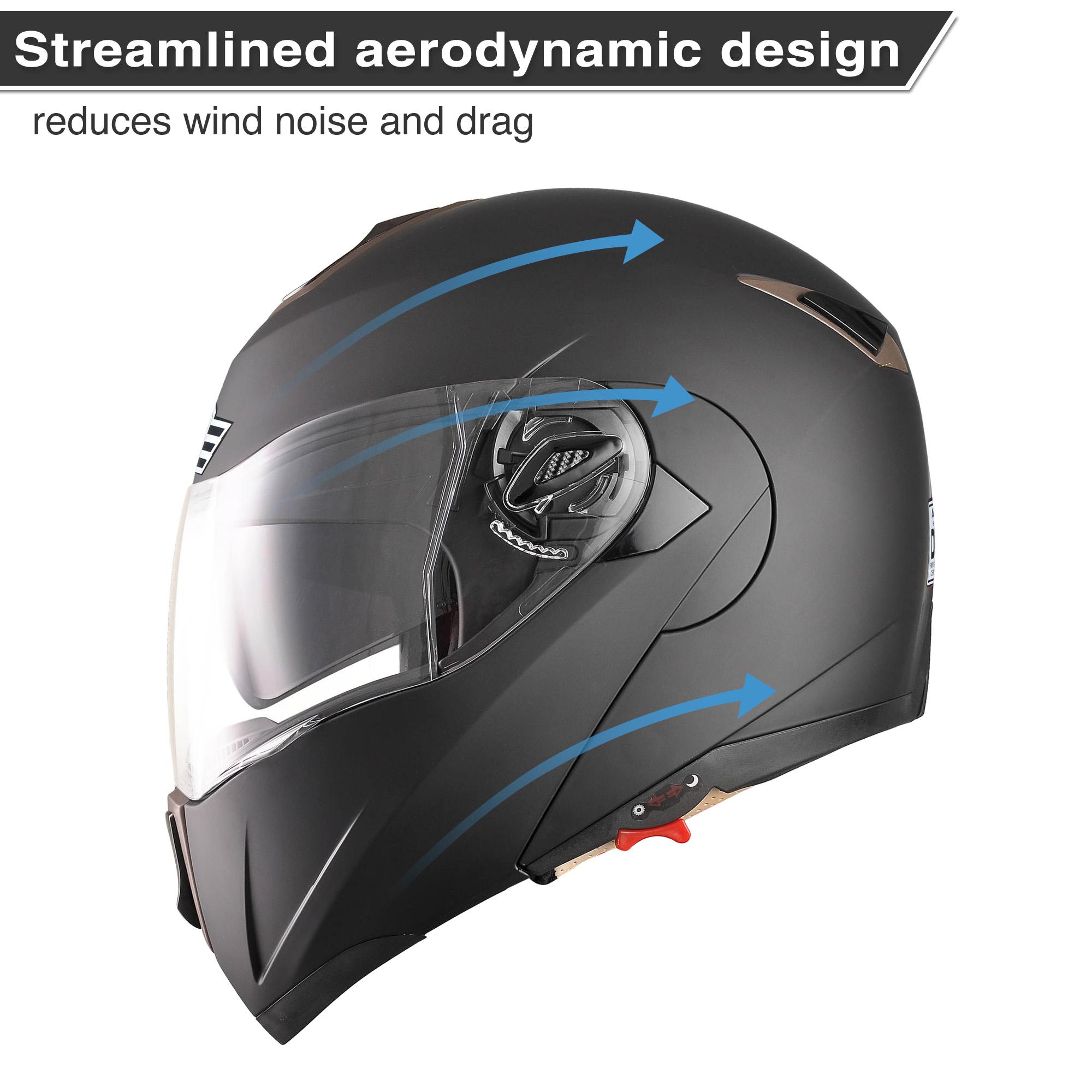 miniature 156 - DOT Flip up Modular Full Face Motorcycle Helmet Dual Visor Motocross Size Opt