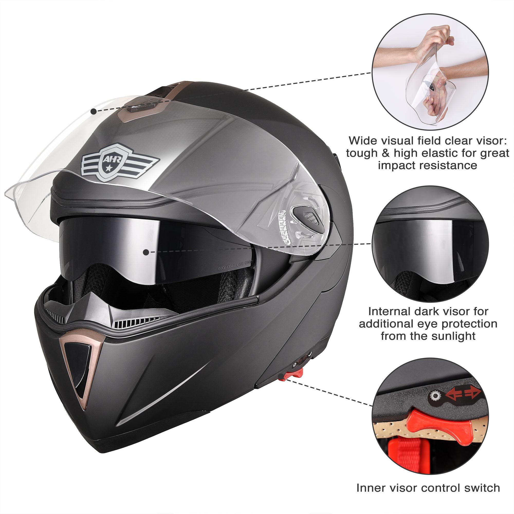 miniature 159 - DOT Flip up Modular Full Face Motorcycle Helmet Dual Visor Motocross Size Opt