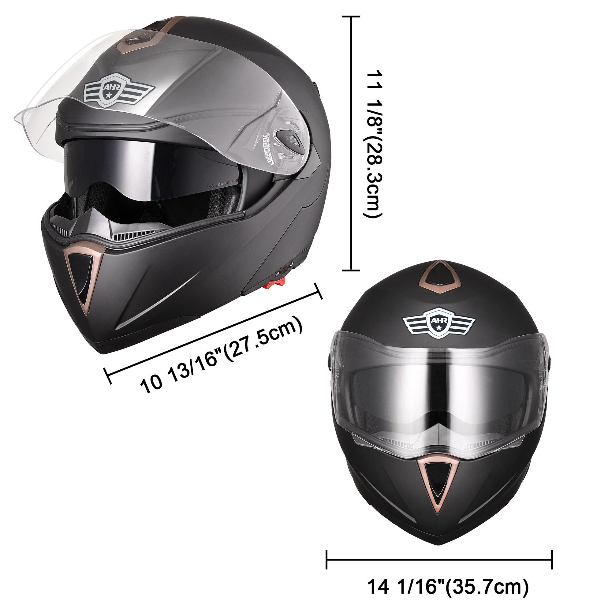 miniature 149 - DOT Flip up Modular Full Face Motorcycle Helmet Dual Visor Motocross Size Opt