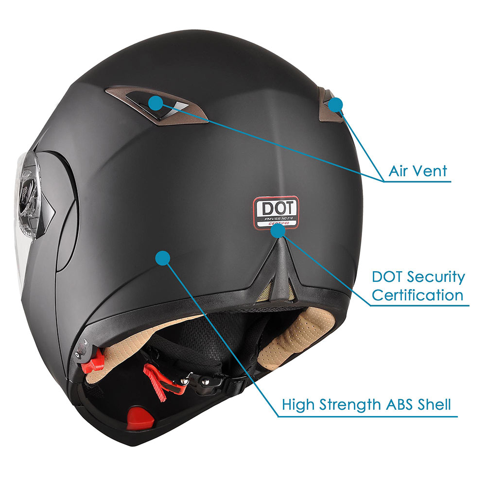DOT-Flip-up-Modular-Full-Face-Motorcycle-Helmet-Dual-Visor-Motocross-Size-Opt miniature 88