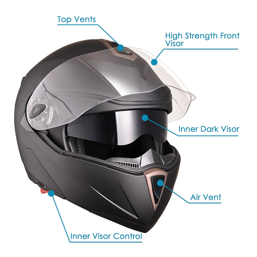 DOT-Flip-up-Modular-Full-Face-Motorcycle-Helmet-Dual-Visor-Motocross-Size-Opt miniature 87