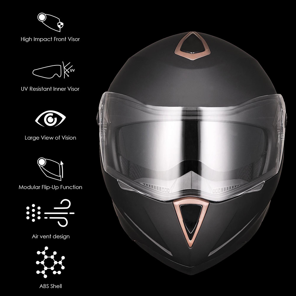 DOT-Flip-up-Modular-Full-Face-Motorcycle-Helmet-Dual-Visor-Motocross-Size-Opt miniature 142