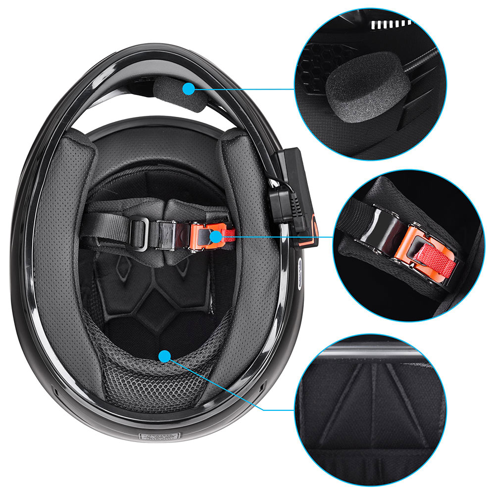DOT-Motorcycle-Full-Face-Adult-Helmet-Size-M-XL-w-Bluetooth-Wireless-Headset thumbnail 9