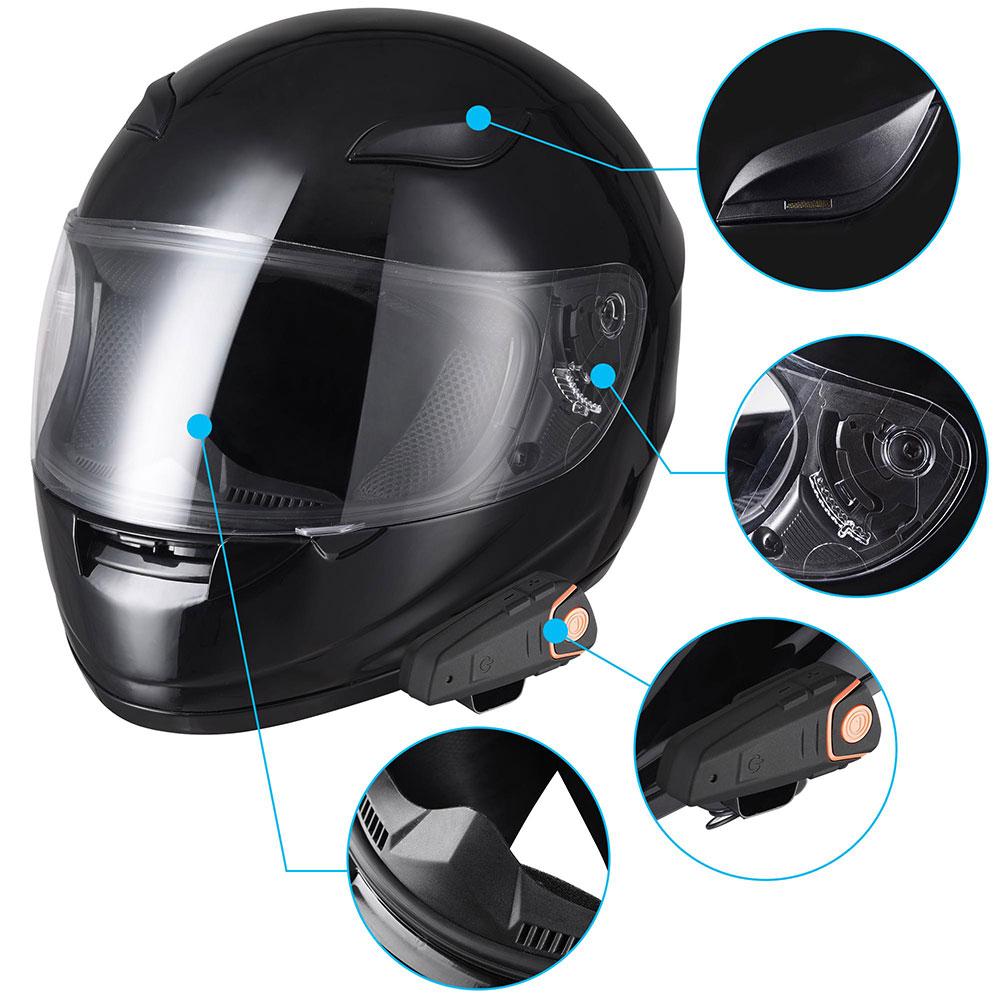 Motorbike Full Face Helmet with Wireless Bluetooth Headset Intercom MP3 FM Radio
