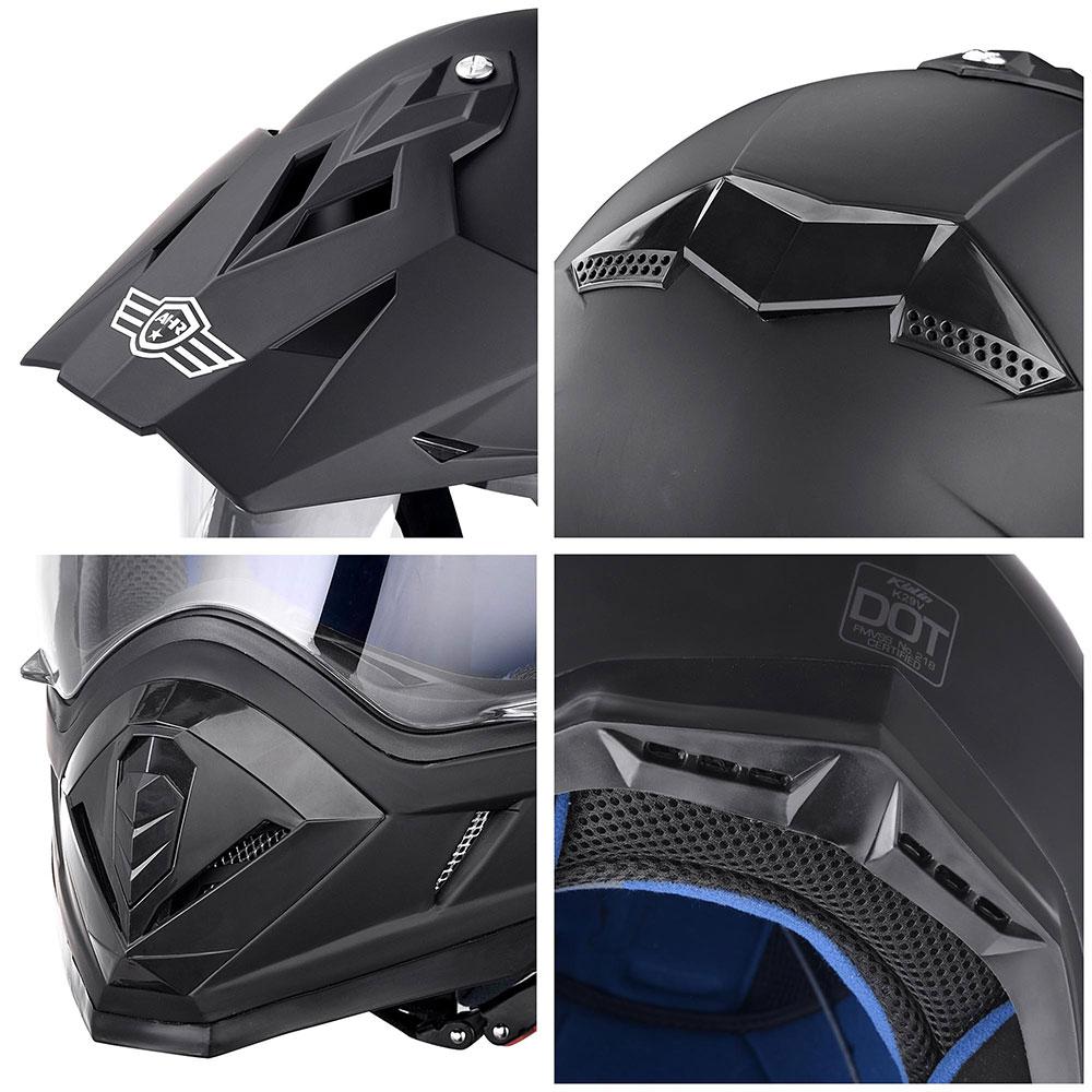 Matte-Black-DOT-Adult-Dual-Visor-Full-Face-Motorcycle-Street-Sport-Helmet-S-XL thumbnail 18